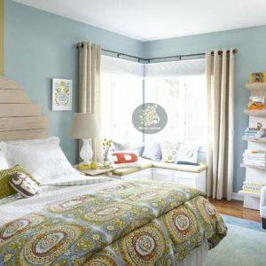 Chọn rèm cửa phòng ngủ cho tường màu xanh ngọc