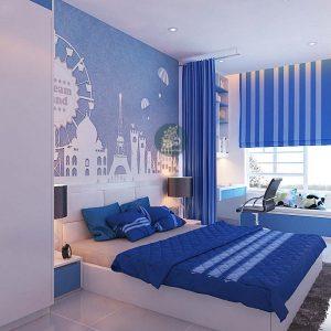 Rèm cửa màu xanh ngọc cho phòng ngủ