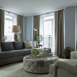 rèm cửa phòng khách sang trọng với tông màu xám